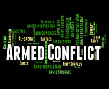 Armed Conflict Represents Word Clash And War Stock Illustration