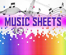 Sheet Music Shows Sound Tracks And Acoustic Stock Illustration