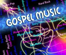 Gospel Music Shows Christian Teaching And Audio - stock illustration
