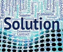 Solution Word Means Solved Successful And Succeed - stock illustration