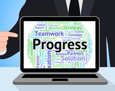 Progress Word Means Progression Betterment And Wordcloud - stock illustration