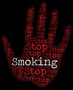 Stop Smoking Means Warning Sign And Caution Piirros