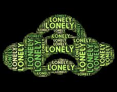 Lonely Word Represents Wordclouds Abandoned And Text - stock illustration