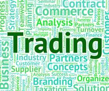 Stock Illustration of Trading Word Means Wordcloud Text And Commerce