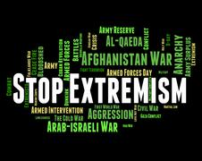 Stop Extremism Shows Fanaticism Extreme And Words - stock illustration