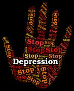 Stop Depression Represents Warning Sign And Caution Piirros