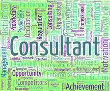 Consultant Word Means Consulting Wordcloud And Authority - stock illustration