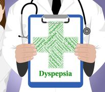 Dyspepsia Word Indicates Poor Health And Affliction Stock Illustration