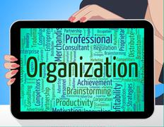 Organization Word Represents Arrangement Establishment And Conglomerate - stock illustration