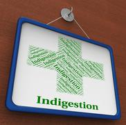 Indigestion Word Indicates Poor Health And Affliction Stock Illustration
