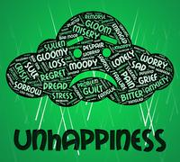 Stock Illustration of Unhappiness Word Indicates Grief Stricken And Dejected