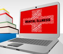 Mental Illness Online Indicates Disturbed Mind And Ailment Stock Illustration