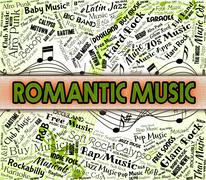 Romantic Music Represents Sound Tracks And Acoustic Stock Illustration