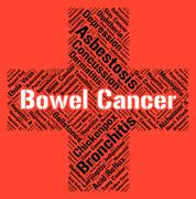 Bowel Cancer Indicates Ill Health And Ailments Stock Illustration