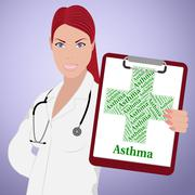 Asthma Word Shows Poor Health And Ailment Piirros