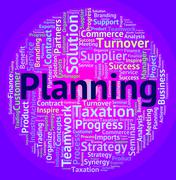 Planning Word Indicates Goals Objective And Target - stock illustration