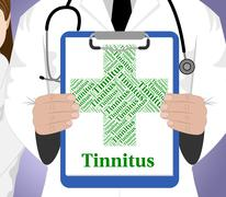 Tinnitus Word Represents Ill Health And Afflictions - stock illustration