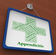 Appendicitis Word Represents Ill Health And Ailment - stock illustration