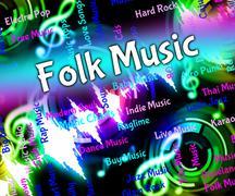 Folk Music Represents Sound Tracks And Harmonies Stock Illustration