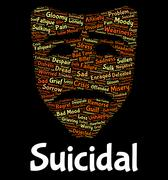 Suicidal Word Shows Potential Suicide And Deadly Stock Illustration