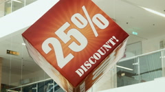 Discount cube, in trade center Stock Footage