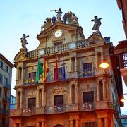 Pamplona Navarra Ayuntamiento city Hall square Stock Photos