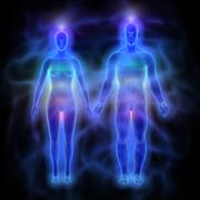 Human energy body (aura) with chakras - woman and man Stock Illustration