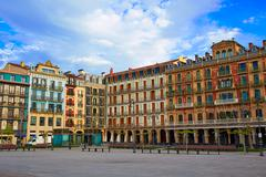 Pamplona Navarra Spain plaza del Castillo square - stock photo