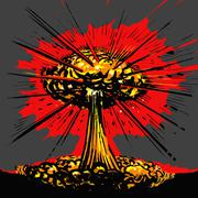 Illustrative image of nuclear explosion against gray background Stock Illustration