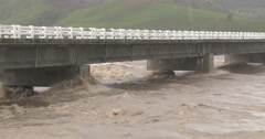 Raging River Flood Water As Hurricane Hits With Torrential Rain Stock Footage