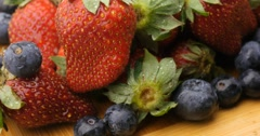 Fruit health fresh natural strawberry and berries Stock Footage