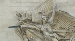The winged personification of Liberty sculpted on Arc de Triomphe in Paris Stock Footage