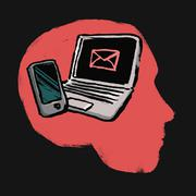 Illustration of laptop and smart phone in human head against black background Stock Illustration