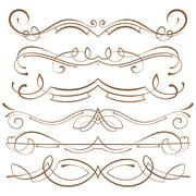 set. calligraphic design elements and page decoration - stock illustration