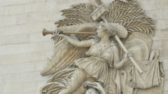 Nike, goddess of Victory, sculpted on Arc de Triomphe in Paris Stock Footage