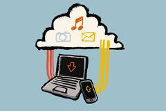 Stock Illustration of Illustration of technologies and cloud with multimedia symbols against blue