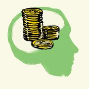 Illustration of stacked coins in human head against white background Stock Illustration