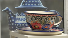 Hand painted teacup and teapot, Warsaw - stock footage