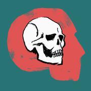 Illustration of skull in human head against green background Stock Illustration
