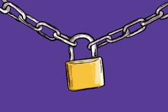 Illustration of padlock attached to chains against purple background Stock Illustration