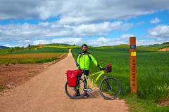 The way of Saint James biking 571 km to Santiago - stock photo