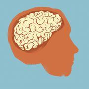 Illustration of human head against blue background Stock Illustration