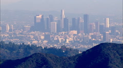 Downtown Los Angeles LA Day Aerial 1 Stock Footage