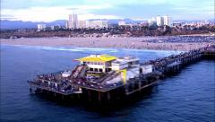 Santa Monica Pier Aerial Shot Stock Footage