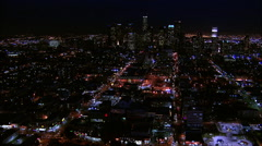 Downtown LA Night Aerial 4 - stock footage