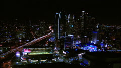 Downtown LA Night Aerial Nokia Theater Stock Footage
