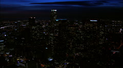 Downtown LA Night Aerial 6 Stock Footage