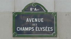 Avenue des Champs-Elysees street name board in Paris Stock Footage