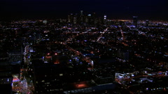 Downtown LA Night Aerial 3 - stock footage
