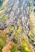 Volcanic Lava Tungurahua Volcano Aerial Shot - stock photo